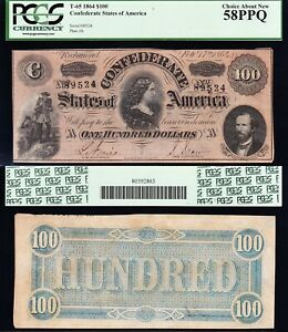 Amazing HIGH GRADE T-65 1864 $100 Lucy Pickens Confederate CSA Note! PCGS 58 PPQ