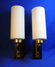 Pair Mid Century 70´s German White Glass Wall Lamps Sconces #O/B