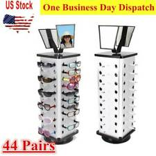 360° Rotating Counter Top Sunglasses Display Rack 44-Pair Capacity w/ 2 Mirrors