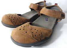 ARAVON REVlite Womens US 9AA Brown nubuck leather Sandals with Ankle Strap