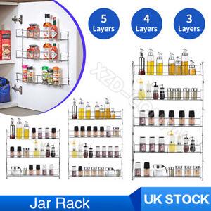 2- 6 Tier Home Spice Jar Rack Kitchen Cupboard Door Wall Storage Organiser Racks