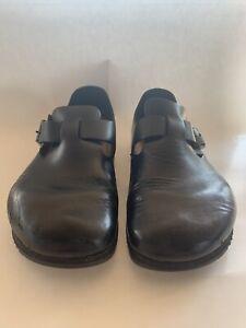 Birkenstock Unisex Clog BLack Leather Sz 40/41 Work Shoes