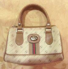 GUCCI Signature LOGO MINI Beige HANDBAG Purse Bag Small Leather VINTAGE~PERFECT