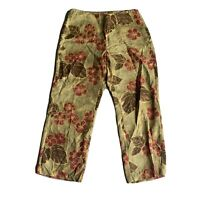 Tommy Bahama Womens Pants 100% Silk Crop Sz 6  Floral Print Green Wide Leg