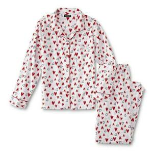 Joe Boxer Women's Juniors' Red Hearts Flannel Notch Collar Pajama Set