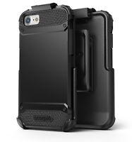 iPhone SE 2020 / 8 / 7 Belt Clip Case Tough Protection w/ Holster  -  Black