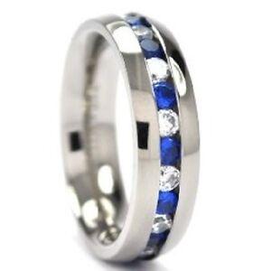 Titanium Ring, Dark Blue & Clear Cubic Zirconia wedding band, anniversary, gift