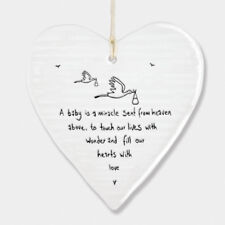 East of India Wobbly White Porcelain Heart Baby is a Miracle Decoration 10x9cm