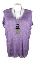 NWT AUTOGRAPH Top - Mauve Purple Short Sleeve Scoop V-Neck Knit Jumper - L/22/24