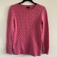 Talbots S Small Cable Knit Pullover Sweater Top Crew Neck Cozy Pink Heathered