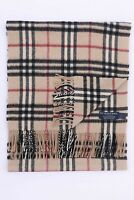 GENUINE BURBERRY 100% CASHMERE BEIGE CHECK VINTAGE SCARF MADE IN ENGLAND