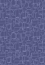Fabric Lewis /& Irene Cocktail hour fizz on lilac grey fat quarter mtr  cotton