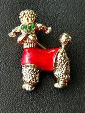 Vintage Poodle with green rhinestone eyes and red sweater Dog Pin/Brooch