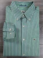 Lacoste Green White Stripe Button Front Long Sleeve Shirt Mens Size 42 L Regular