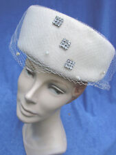 Vintage 60s Turban Hat Felt Pillbox RHINESTONES Cream Veil S
