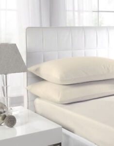 Plain Cream Fitted Bed Sheets Cotton Rich Hotel Quality # ON FINAL SALE #