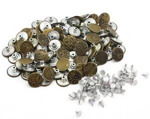 Neu Ersatzknöpfe Jeans Knöpfe Metall Nietknöpfe Bronze Silber Metallknöpfe