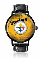 NFL Pittsburgh Steelers Watch Unisex Black Leather Strap Gun Metal Stainless
