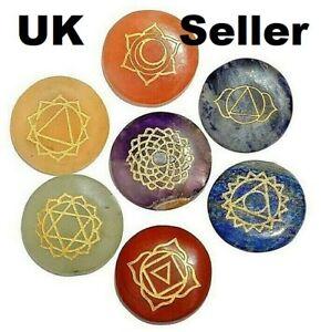 7 X Royal Sapphire Chakra Palm Stones Reiki Healing Engraved Symbols Holistic
