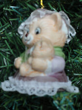 Caring Critters Chimer Bisque Porcelain Chrismas Bell Ornament Mom Kitty KItten
