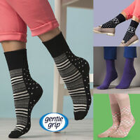 Gentle Grip - 6 Pairs Ladies Non Elastic / Wide Loose Top Patterned Cotton Socks
