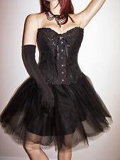 NEW Black White Showgirl Burlesque Corset & Full Tulle Ballerina Skirt Costume