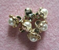 10 X 9MM ACRYLIC PEARL FLOWER BUD GOLD BACK SEW ON SHANK BUTTONS