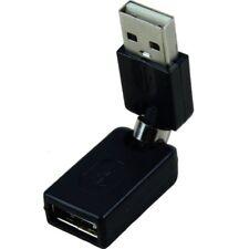 Negro USB 2.0 macho a USB hembra Adaptador de extension de angulo de 360 P4O7