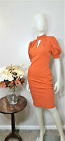 NEW YORK & COMPANY Rust Short Sleeves Sheath Dress-Size XS