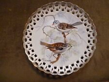 $20 LESS! Plate, two birds, holes/gold, wall hanging, Japan, 8 in. EC $20