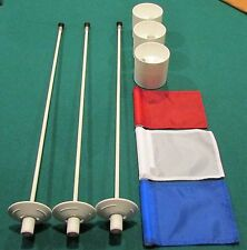 "PUTTING GREEN PACKAGE - 3 POLES -  RED-WHITE-BLUE - 3  PLASTIC - 4 1/4""  CUPS"