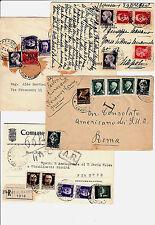 REGNO/LUOGOTENENZA-PM-Due buste+due cartoline-Affrancature miste ordinari 1945