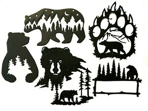 BEAR & TREE SILHOUETTES INSIDE OF SILHOUETTE OF BEARS & BEAR PAWS DIE CUT/ CUTS