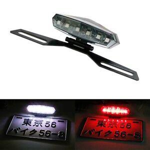 Motorcycle License Plate Mount Holder Bracket w/ LED License Brake Tail Lights