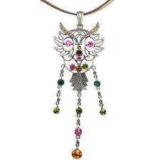 Owl Night Bird Pendant Retro Charm Necklace Jewelry Austrian Crystal Multi-color