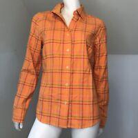 Eddie Bauer Womens Blouse Flannel Shirt Tall Medium Plaid Bright Long Sleeve