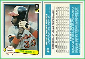 1982 Donruss #483 Eddie Murray Card Mint Major League Baseball MLB Orioles HoF