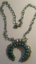 Navajo LORENZO JAMES Squash Blossom Necklace ROYSTON Turquoise Sterling Charming