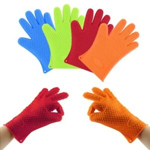 Gloves Heat Resistant Silicone Kitchen BBQ Oven Cooking WASHABLE MITTS
