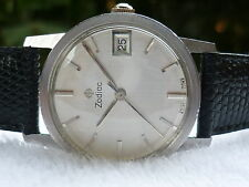 VINTAGE Zodiac Manual wind Stainless Steel 17 Jewels Calendar Swiss Wristwatch