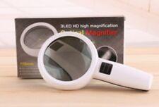 Handheld 10x Universal Optical Reading Magnifier 3 LED Lights