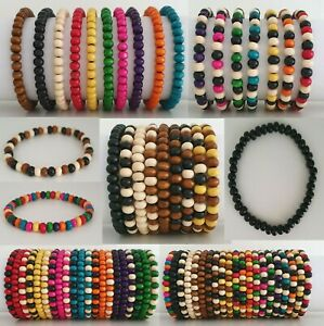 Mens Wooden Bead Tribal / Surfer Elastic Bracelet - 50 Colours / Variations NEW