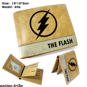 The Flash Green Lantern Leather Wallet Embossing Short Card Holder Unisex Purse