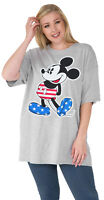 Women's Plus Size Mickey Mouse American Flag T-Shirt - Gray