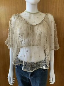 Lim's Vintage All Hand Crochet Lacy and Sheer Half sleeve Top,Taupe, Size M