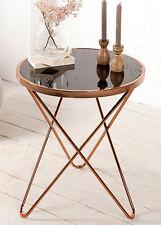 Table d'appoint Table basse cuivre Paris 55cm art déco design verre noir rétro