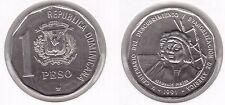 DOMINICAN REPUBLICA - RARE 1 PESO UNC COIN 1991 YEAR KM#81 PINZON ON SHIP