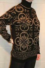 M~L Black Gold Metallic Vtg 80s HELIUM LUREX Knit Slouch Turtleneck Sweater