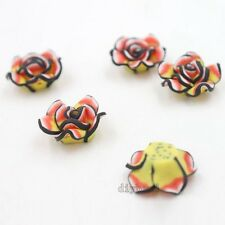100pcs Rose Flower FIMO Polymer Clay Spacer Beads Fit Jewelry Handcraft Decor D