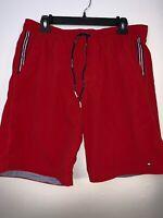 Tommy Hilfiger Men's Red Swim Shorts Trunks Vintage VTG 1990s Sz L Large